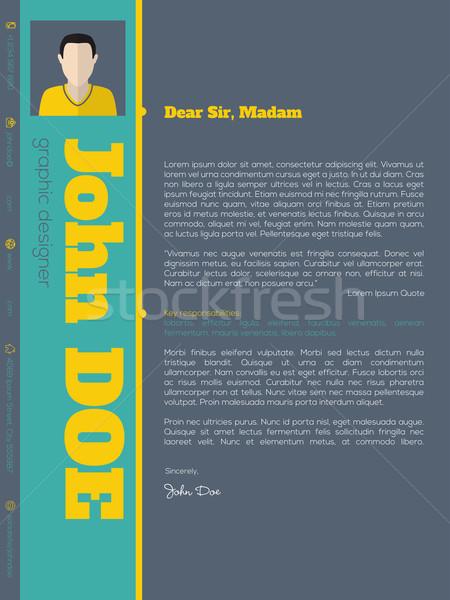 Modern borító levél cv önéletrajz sablon Stock fotó © vipervxw