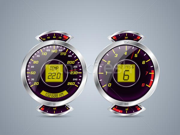 Shiny metallic speedometer and rev counter Stock photo © vipervxw