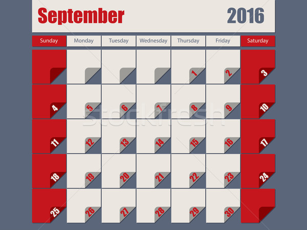 Gray Red colored 2016 september calendar Stock photo © vipervxw