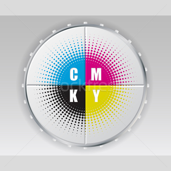 Digital button with cmyk halftone Stock photo © vipervxw