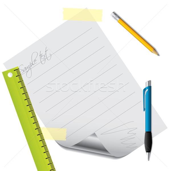 Text on lined paper with accessories Stock photo © vipervxw