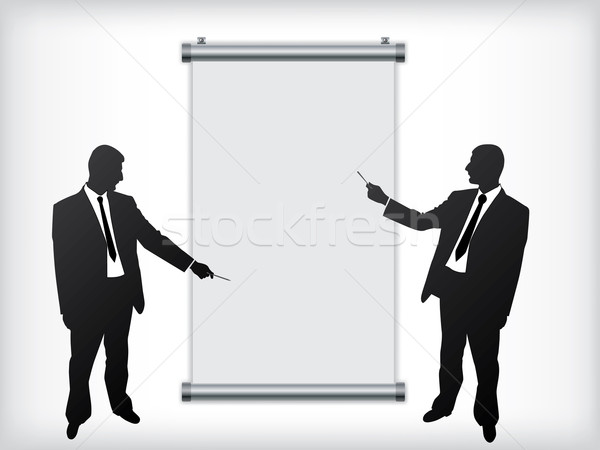 Testreszabható zsemle felfelé tábla üzletemberek absztrakt Stock fotó © vipervxw