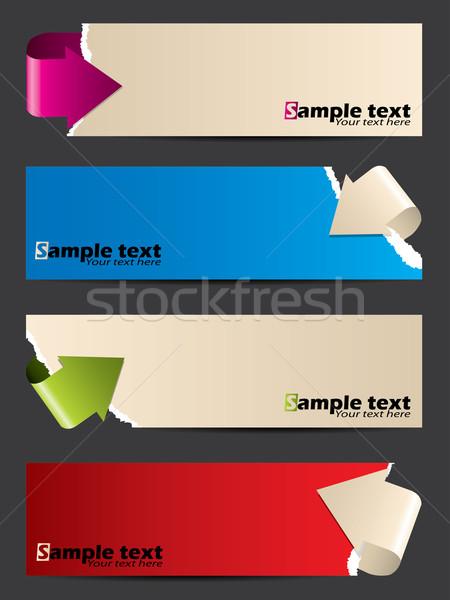 Stock fotó: Papír · bannerek · görbület · nyilak · szalag · terv