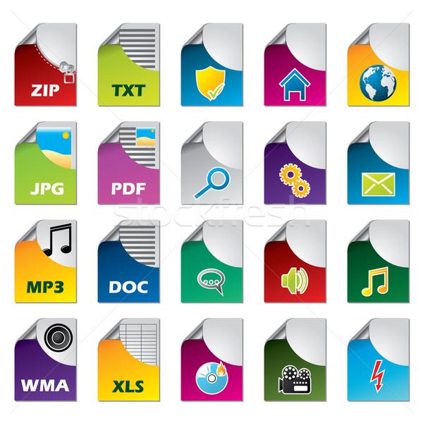 File icon set of twenty  Stock photo © vipervxw