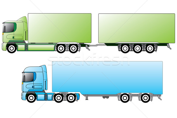 European trucks with different trailers  Stock photo © vipervxw