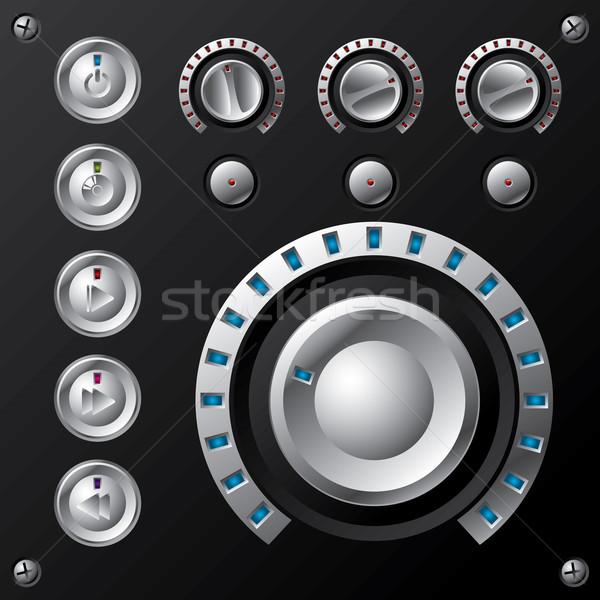 青 ボリューム マルチメディア ボタン ボタン セット ストックフォト © vipervxw