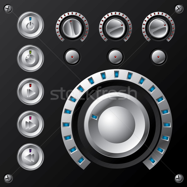 Blauw volume multimedia knoppen knop ingesteld Stockfoto © vipervxw