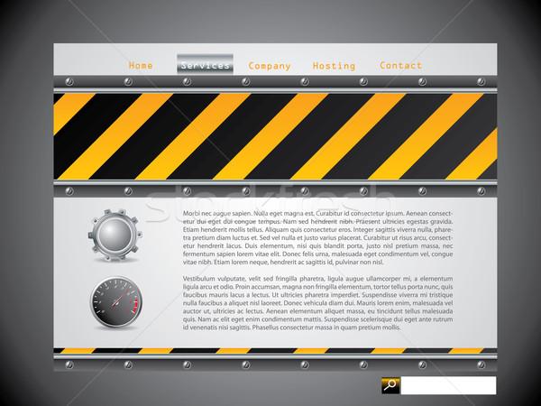 Figyelmeztető jel weboldal sablon ipari elemek hírek Stock fotó © vipervxw
