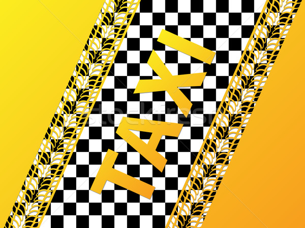 Checkered taxi background with tire treads Stock photo © vipervxw