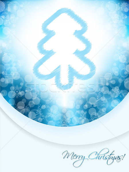 Blue christmas greeting card with scribbled tree and bubble back Stock photo © vipervxw