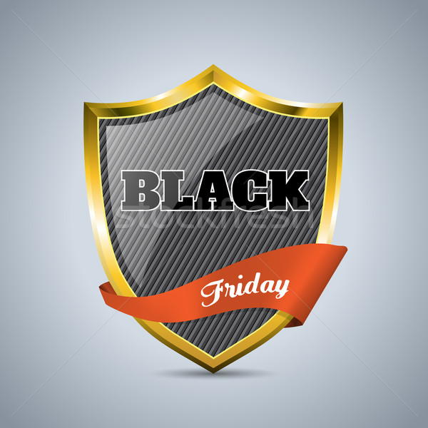 Black friday distintivo fita escudo laranja negócio Foto stock © vipervxw