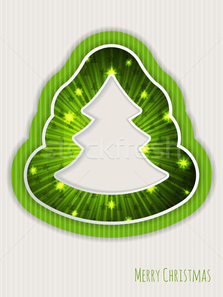 Zöld karácsony üdvözlet karácsonyfa üdvözlőlap terv Stock fotó © vipervxw