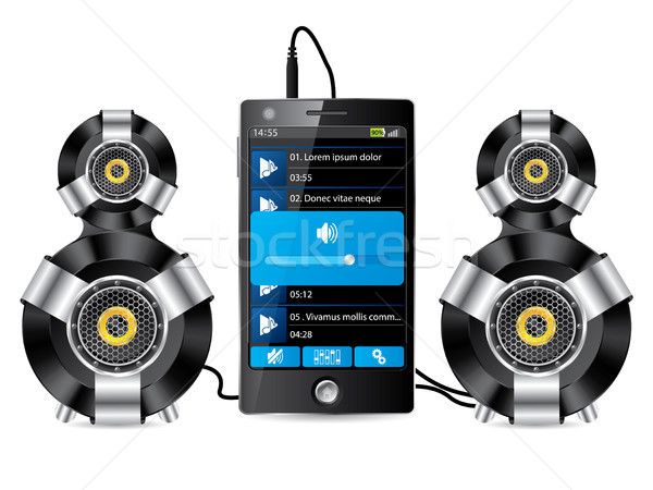Stereo speaker set with phone Stock photo © vipervxw