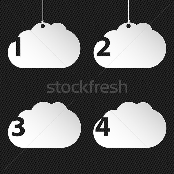 Numbered cloud network icons on black background Stock photo © vipervxw