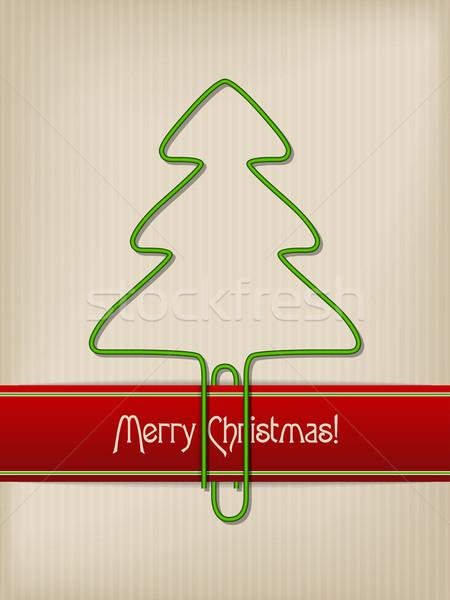 полосатый Рождества приветствие дерево скрепку Сток-фото © vipervxw