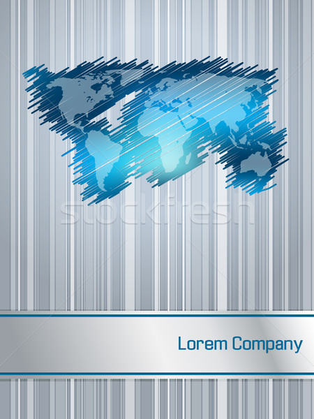 Striped and scribbled blue business brochure design Stock photo © vipervxw