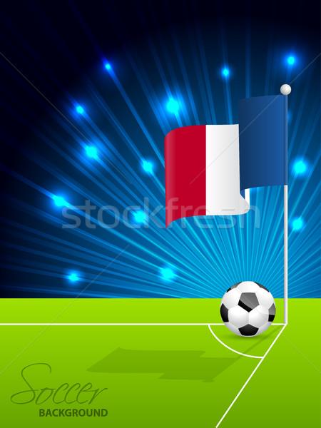 футбольным мячом французский флаг области углу спорт Сток-фото © vipervxw