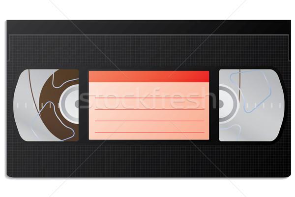 Klasik video kaset bağbozumu kırmızı etiket Stok fotoğraf © vipervxw