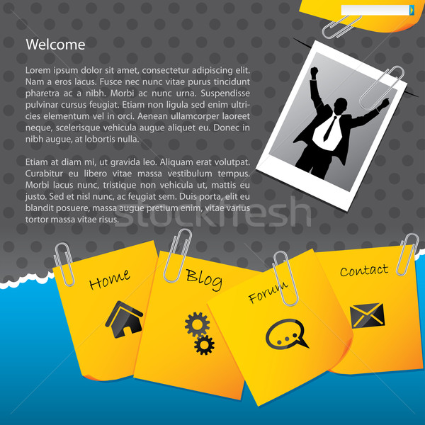 Bussines website template with paper clipped notepapers and phot Stock photo © vipervxw