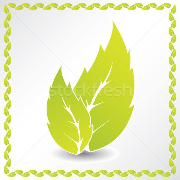 Ekologiczny liści ramki projektu zielony liść streszczenie Zdjęcia stock © vipervxw