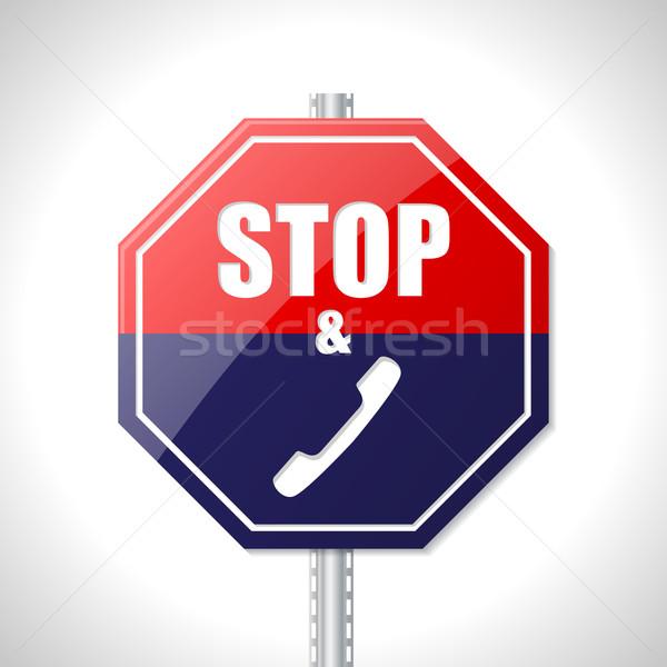 停止 コール 交通標識 白 通り 青 ストックフォト © vipervxw