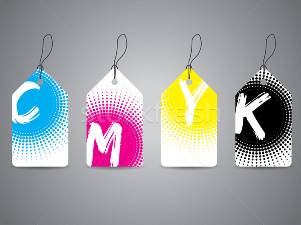 Cmyk labels with painted text in halftones Stock photo © vipervxw