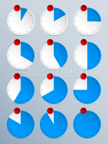 Cuenta atrás temporizador establecer doce azul rojo Foto stock © vipervxw