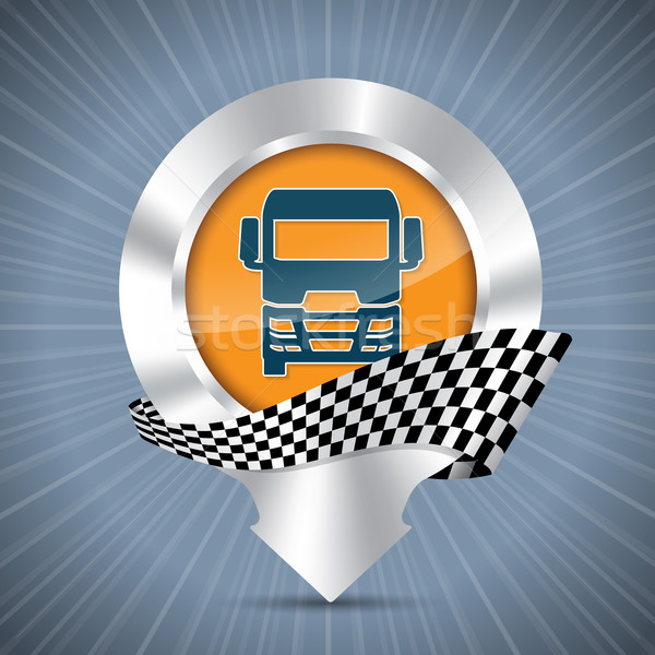 Truck badge with metallic pointer and race flag Stock photo © vipervxw
