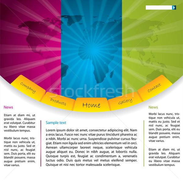 Website design kaart cool kleurrijk papier internet Stockfoto © vipervxw