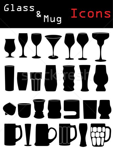 Glass & Mug Icons  Stock photo © vipervxw