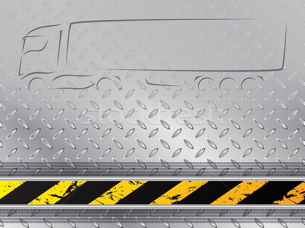 Iindustrial background with tire track and truck silhouette Stock photo © vipervxw