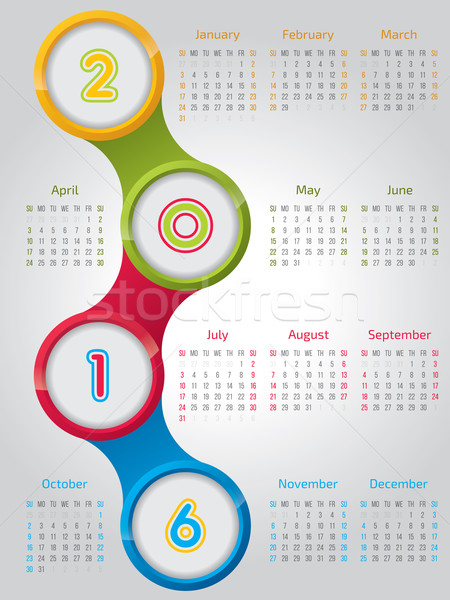 New 2016 calendar with shiny circles  Stock photo © vipervxw