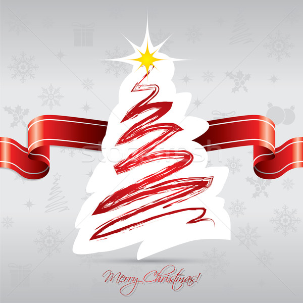 Christmas tree card with red ribbon Stock photo © vipervxw