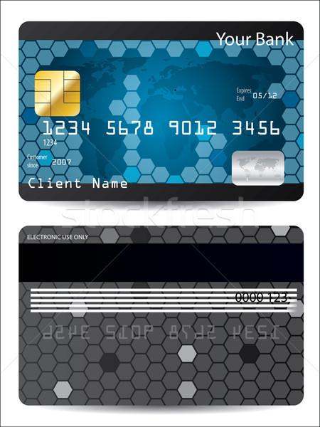 Blue credit card design Stock photo © vipervxw