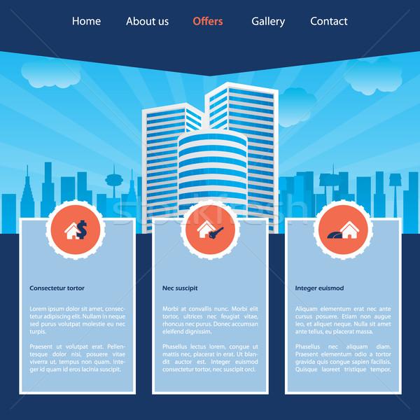 Cityscape website template design  Stock photo © vipervxw