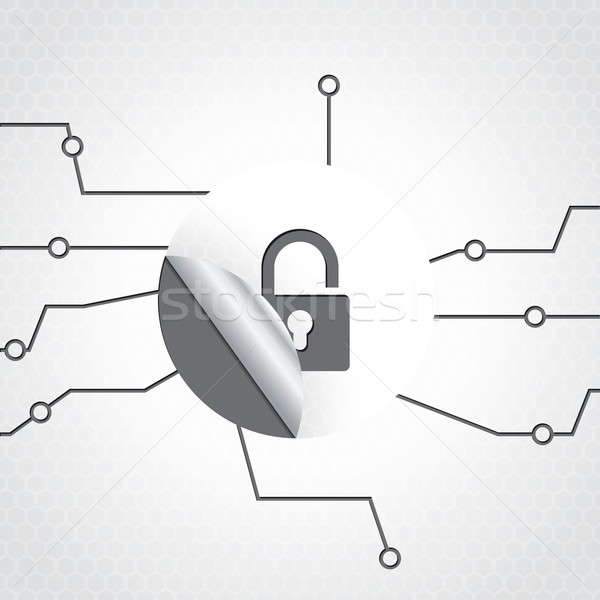 Technology background design with padlock sticker Stock photo © vipervxw