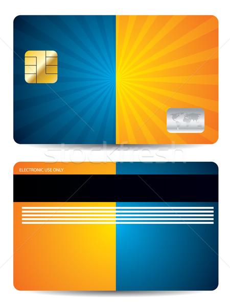 Burst Kreditkarte Design blau orange Farben Stock foto © vipervxw