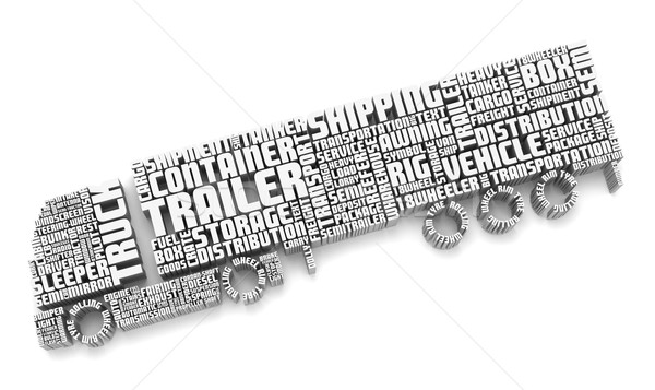 3d words shaping a truck with trailer Stock photo © vipervxw