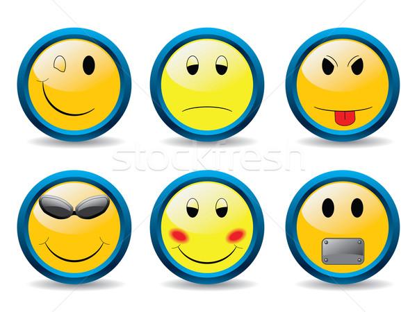 Stockfoto: Ingesteld · smileys · verschillend · emoties · gezicht · teken
