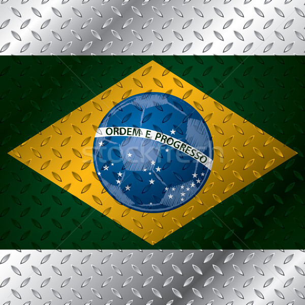 Abstract brasil flag on metallic plate Stock photo © vipervxw