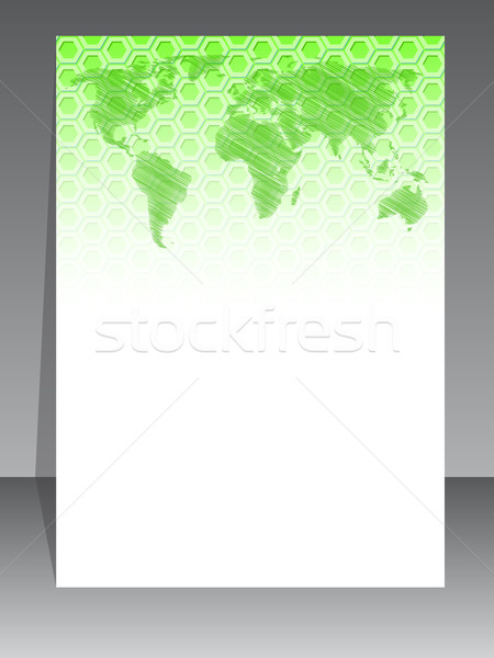 Simplistic brochure design with green pattern and map Stock photo © vipervxw