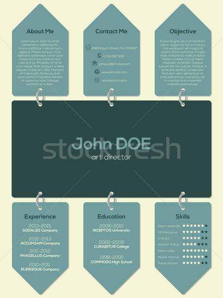 Modern resume cv template with chain and tags Stock photo © vipervxw