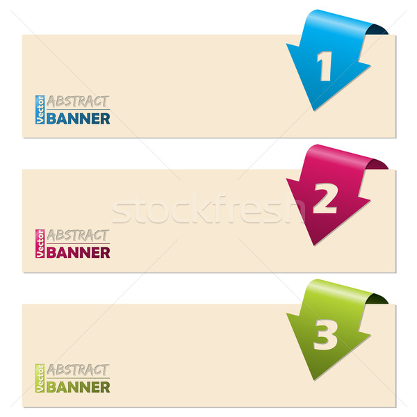 Simplistic banners with folding arrows Stock photo © vipervxw