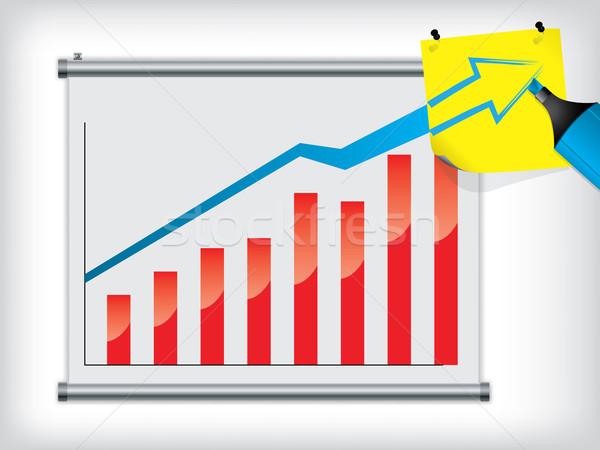 Grafiek muur schrijfpapier Geel abstract financieren Stockfoto © vipervxw