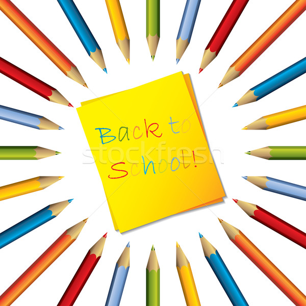 Stock photo: Sticky note with text and surrounding color pencils