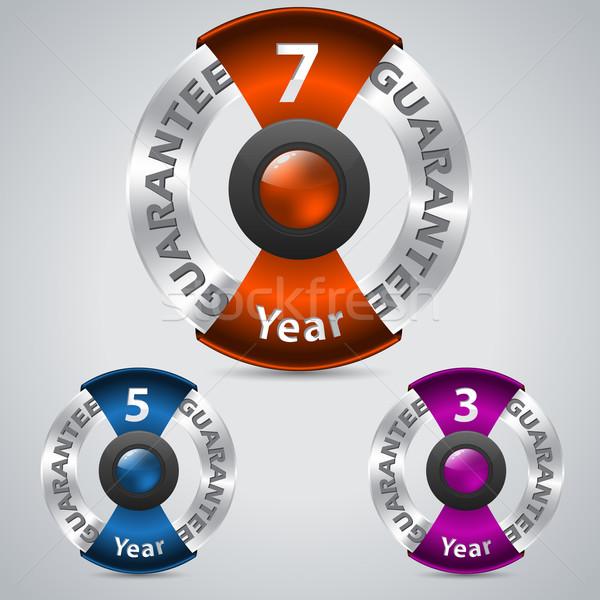 Metallic warranty badges with color ribbons Stock photo © vipervxw