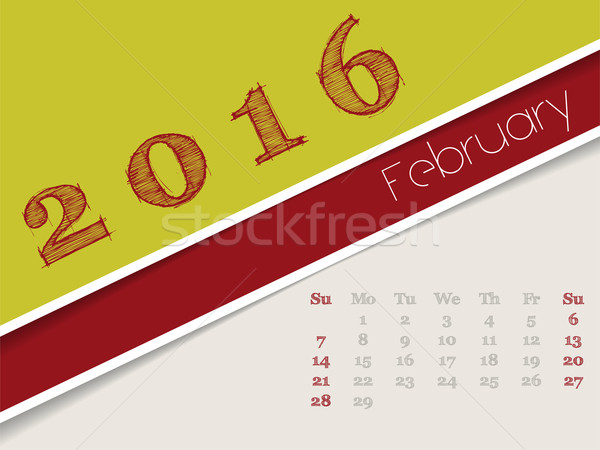 Simplistic february 2016 calendar design Stock photo © vipervxw
