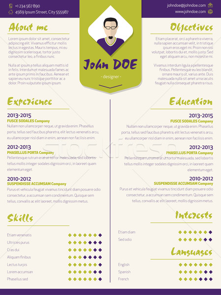 Colorful modern resume curriculum vitae template with design ele Stock photo © vipervxw