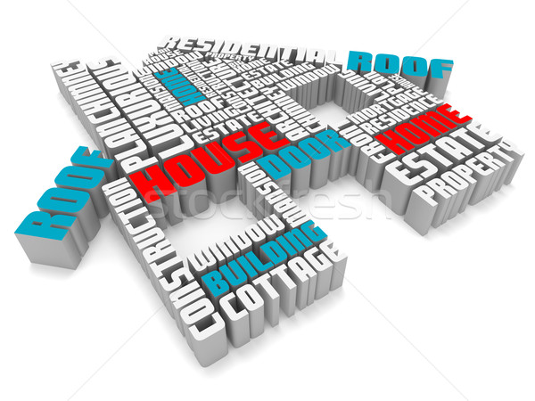 3d group of blue red white words shaping a house Stock photo © vipervxw
