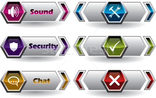 クール 新しい webボタン セット 6 ストックフォト © vipervxw
